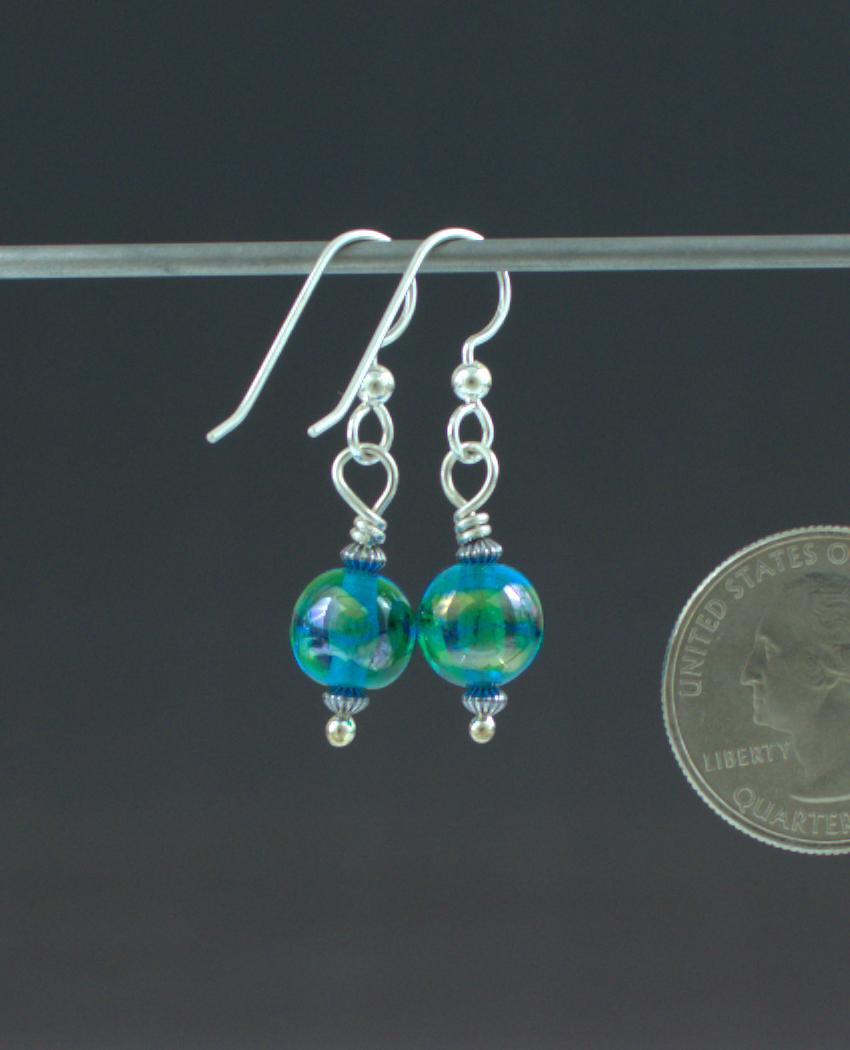 Aqua Pearl Earrings Back