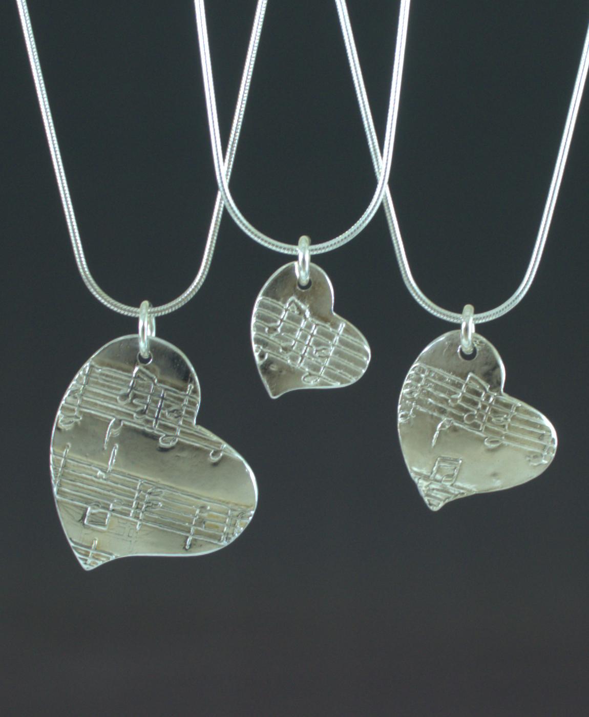 Amazing Grace Fine Silver Heart Pendants